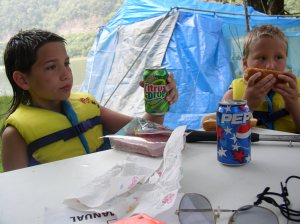 Shawn & Brett eating a snack